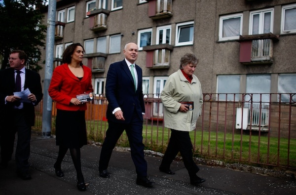 Iain Duncan Smith campaigning on the Easterhouse estate, where in 2002 he was inspired to start his drive for reform of the welfare system. Picture: Getty.