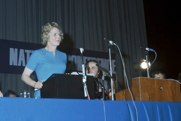 Margaret Thatcher speaking shortly after being elected Conservative leader. Picture: Getty