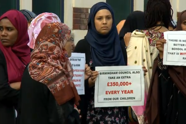 Parents protesting Ofstead's decision to put the Al-Hijrah School in Bordesley Green, Birmingham, in special measures.