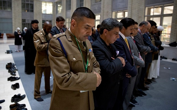 Muslim prayer taking place in the Memorial Courtyard of the Ministry of Defence in London on 23rd July 2014. (Image: Ministry of Defence)