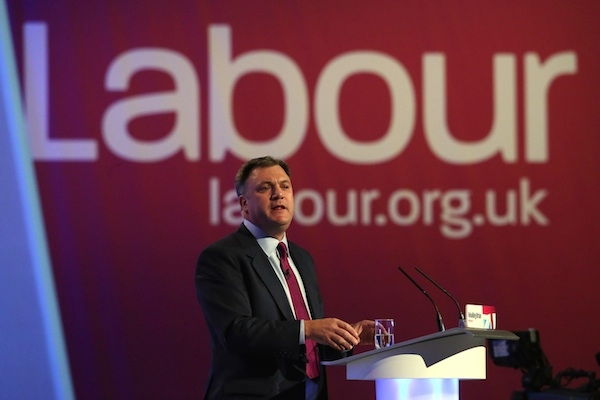 Shadow Chancellor Ed Balls delivers his keynote speech to delegates at the Labour Party Conference Photo: Getty