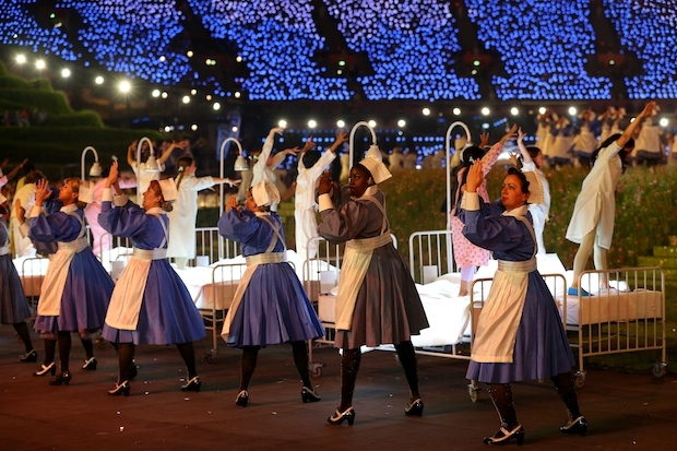 A celebration of the NHS during the Olympic Opening Ceremony in 2012. Image: Getty