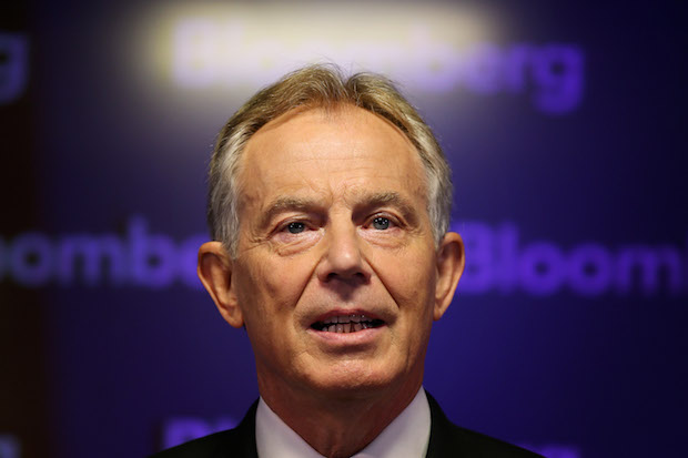 Tony Blair giving his keynote speech at Bloomberg this morning. Photo: Peter Macdiarmid/Getty Images