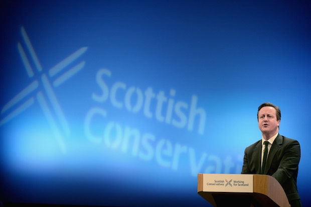 David Cameron addressing the Scottish Conservative Party. Image: Getty