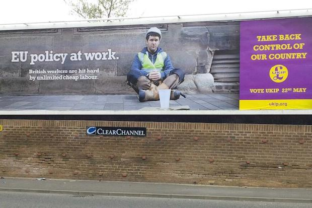 One of the new Ukip billboards appearing around the country today.