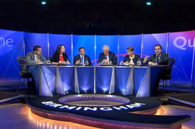 Last night's panel: David Dimbleby, Grant Shapps, Yvette Cooper, Kirsty Williams, Mehdi Hasan and Quentin Letts.
