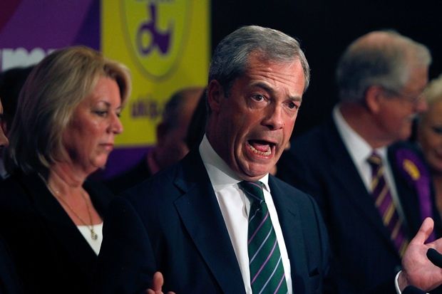 Nigel Farage speaking at a press conference in Westminster this afternoon. Photo:  Mary Turner/Getty Images