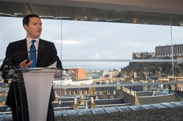 George Osborne giving a speech on a currency union with Scotland. Photo: BBCb