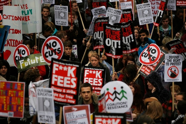 Students march against university tuition fees. Picture: Getty