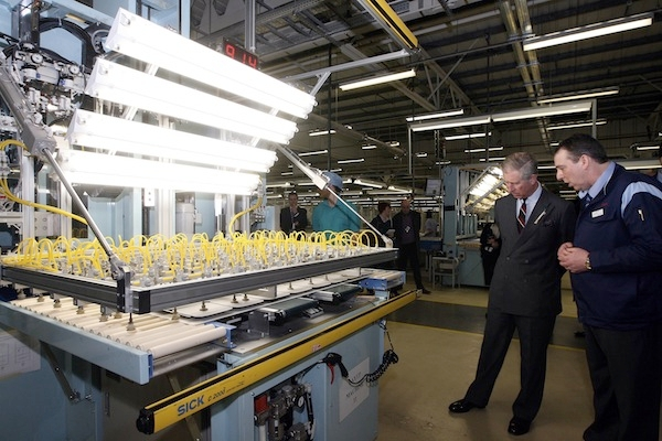 The Prince of Wales on a visit to a manufacturing company in Wales. Picture: Getty