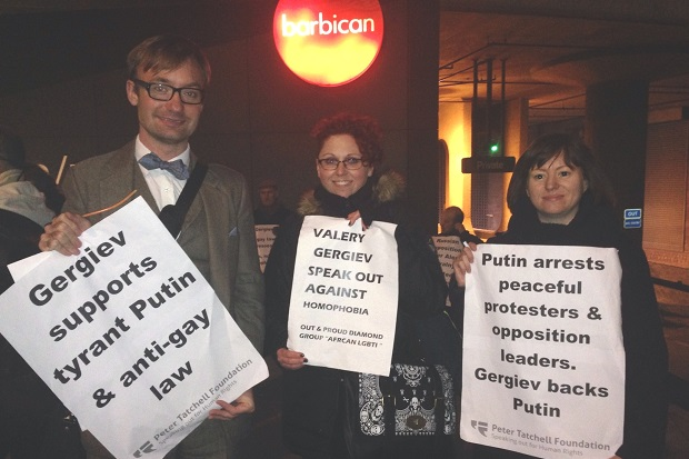 A peaceful protest against Russia's anti-gay law, held at the Barbican last week. Picture: The Peter Tatchell Foundation.