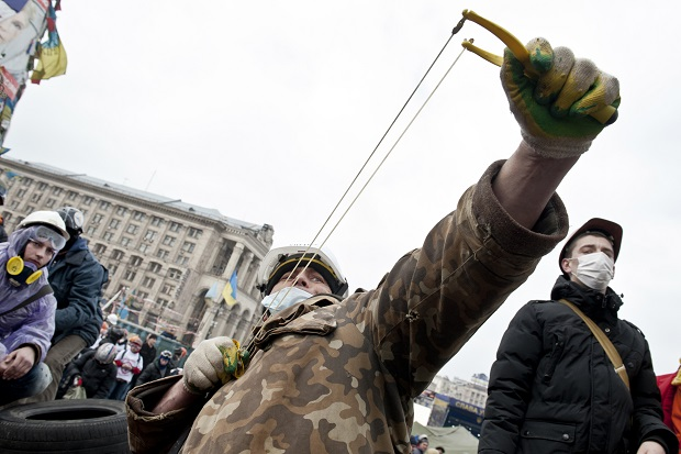 The violent, bloody clashes in Kiev remind us that the EU is seen as an emblem of freedom and prosperity in parts of Eastern Europe. (PIERO QUARANTA/AFP/Getty Images)
