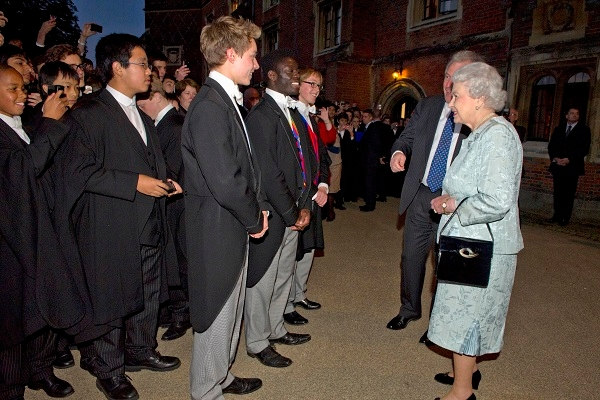 The Queen inspects the elite of Eton College, during her Diamond Jubillee celebrations.