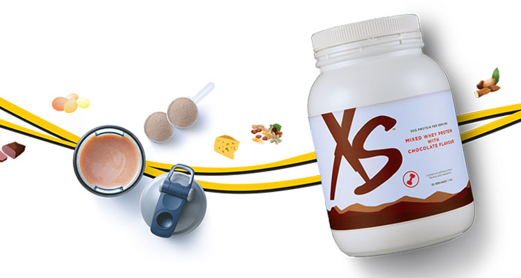 XS Whey protein canister