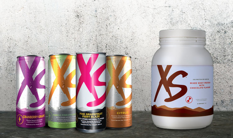Lineup shot of XS Energy Drinks and XS Mixed Whey Protein with Chocolate Flavour