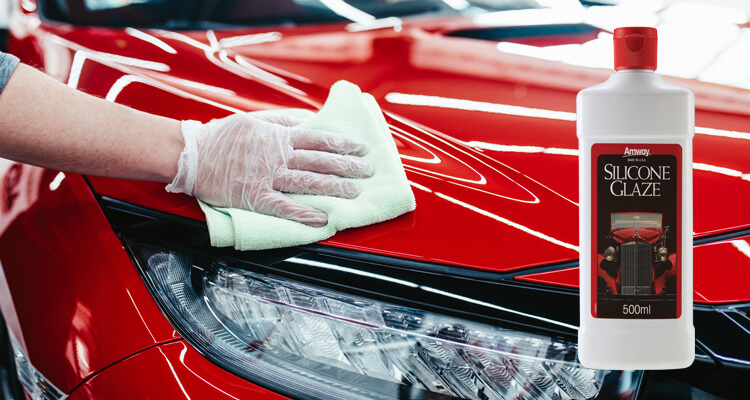Use the Amway Home SILICONE GLAZE Car Polish for a long-lasting shine