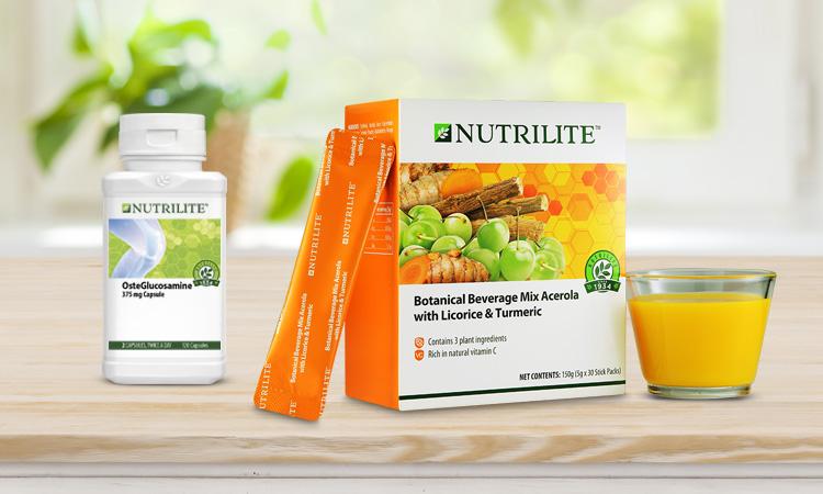 Nutrilite Osteglucosamine and Botanical Beverage Mix Acerola with Licorice and Turmeric