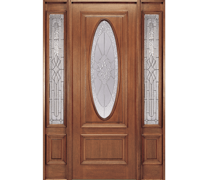 2 panel oval entry door with 3/4 sidelights
