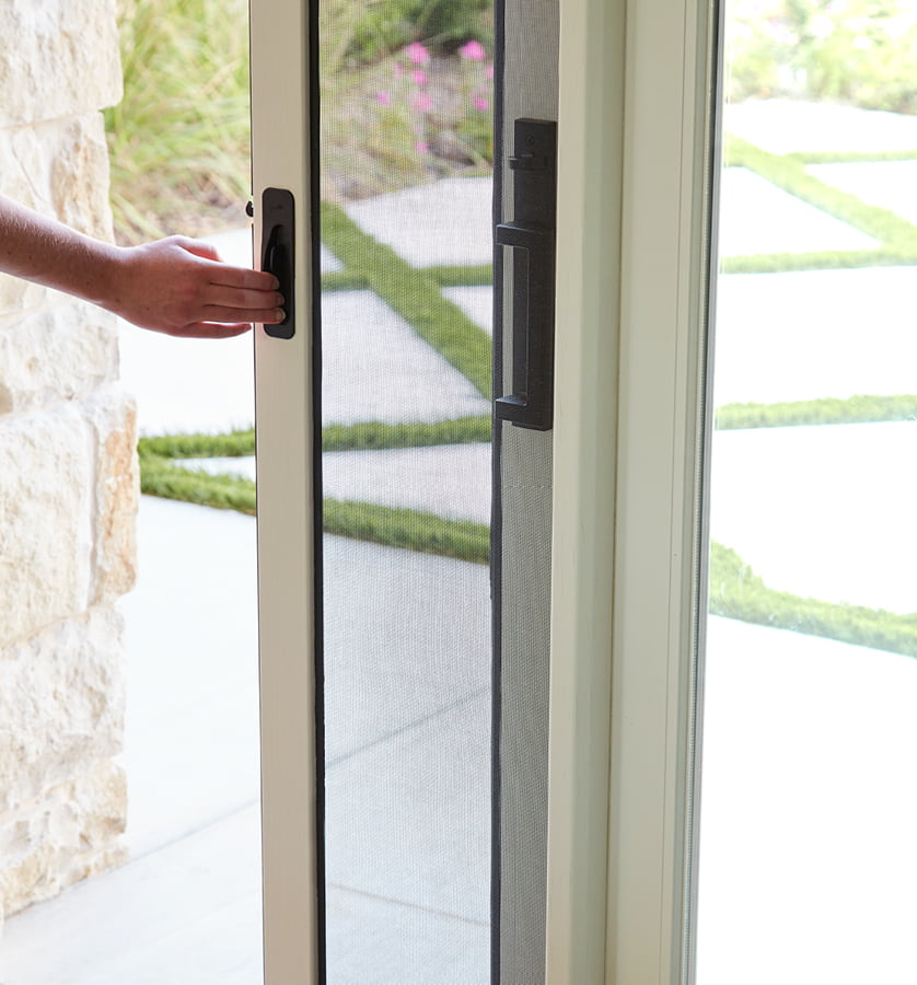 almond sliding door with a rolscreen retractable screen