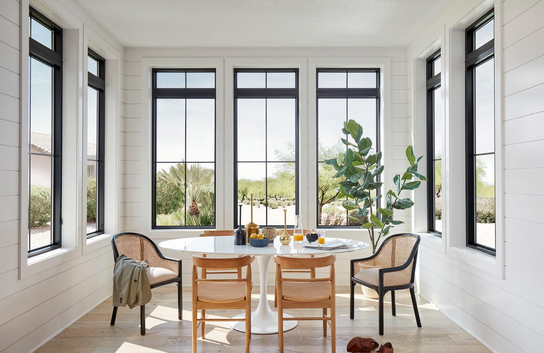 kitchen corner with 6 fiberglass windows