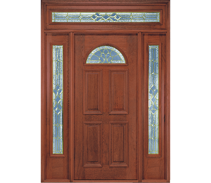 fan light wood entry door with full light sidelights on each side and a glass transom above
