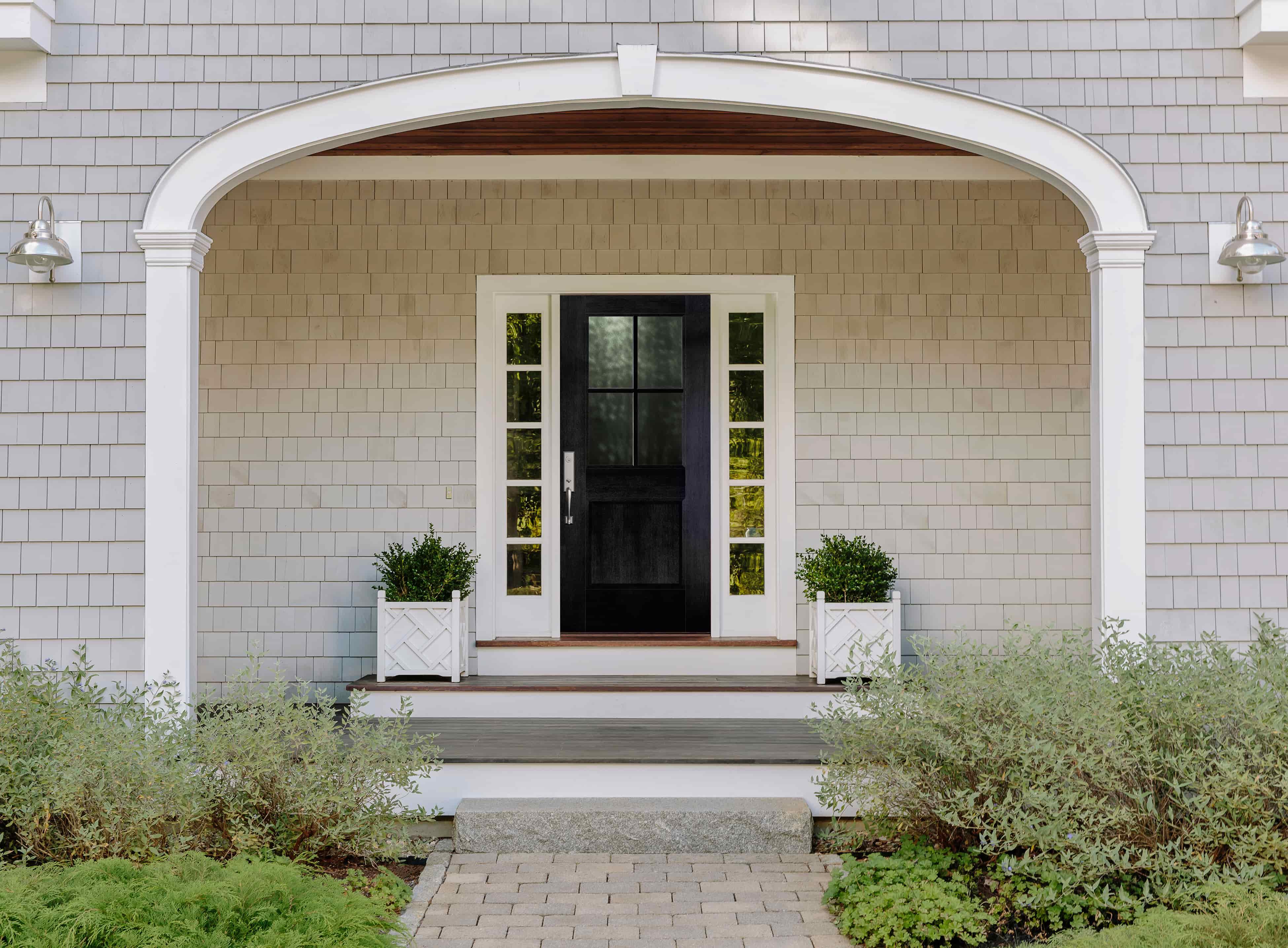 White Sidelights Contrast Black Farmhouse Front Door Pella