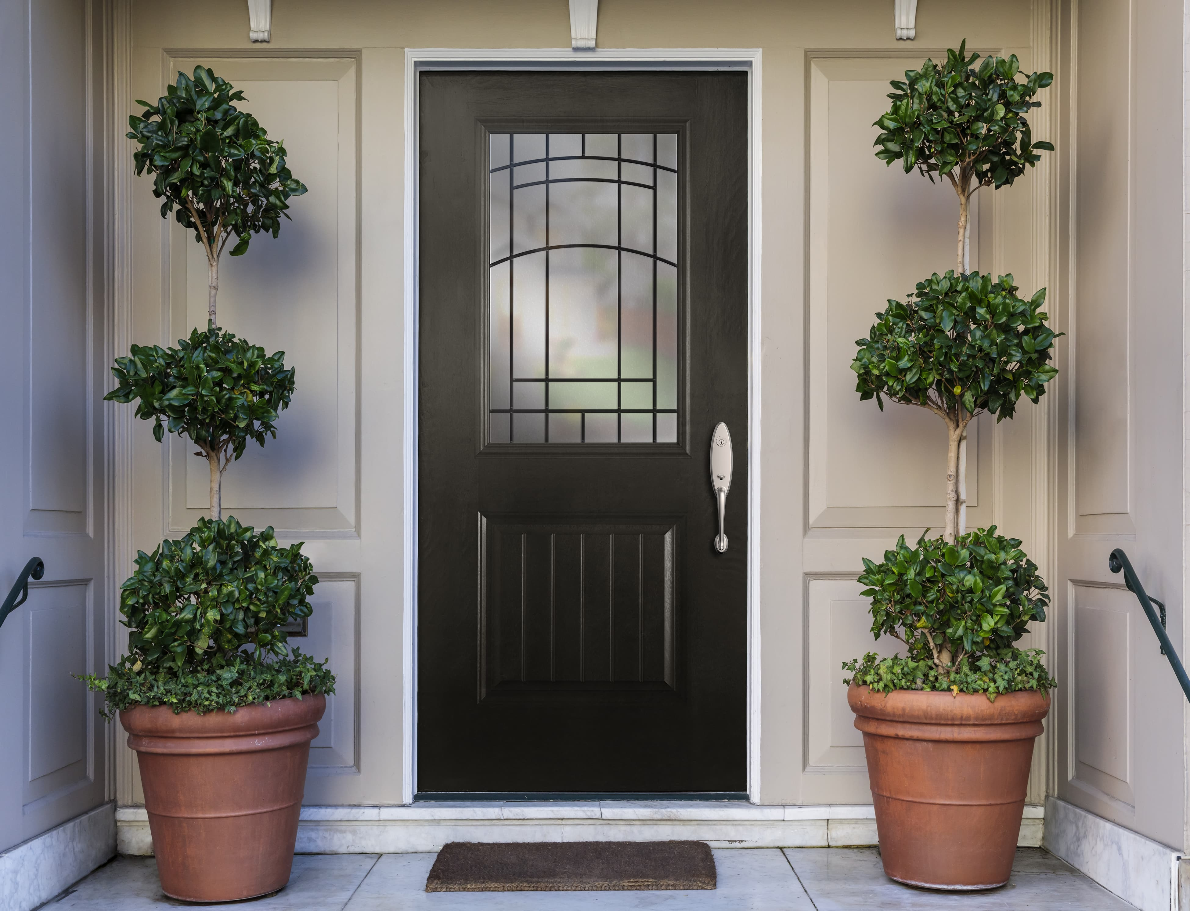 Black front door with decorative glass and greenery on either side
