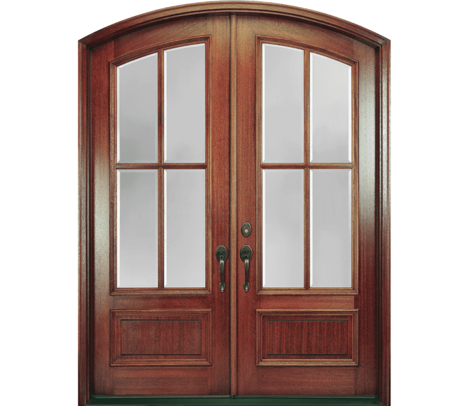 2 panel continuous arch entry door with glass