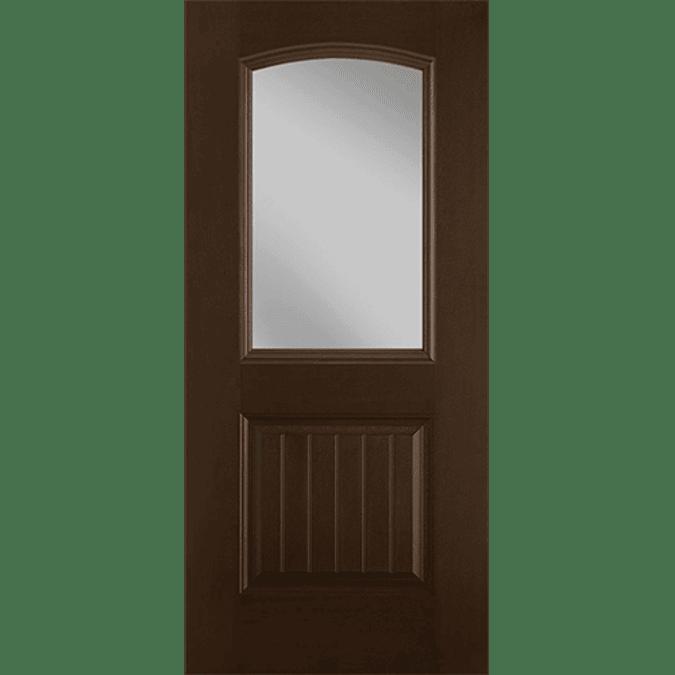half arch light plank entry door