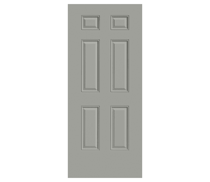 large cut out background image of a 6 panel steel entry door