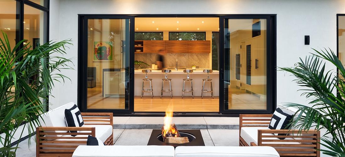 three panel sliding doors black trim home patio