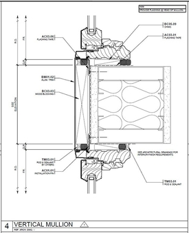 St. Paul Plaza Architect Series window vertical mullion drawing.