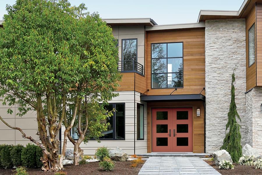 contemporary home exterior front door brick red color