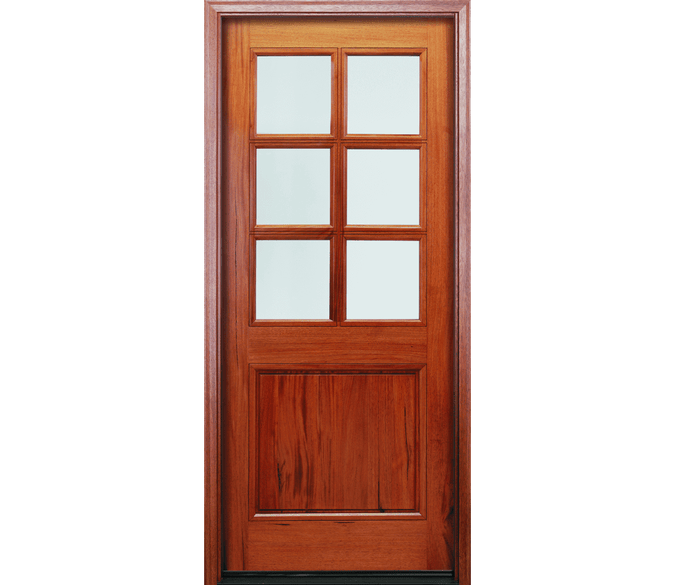 2 panel wood entry door with glass