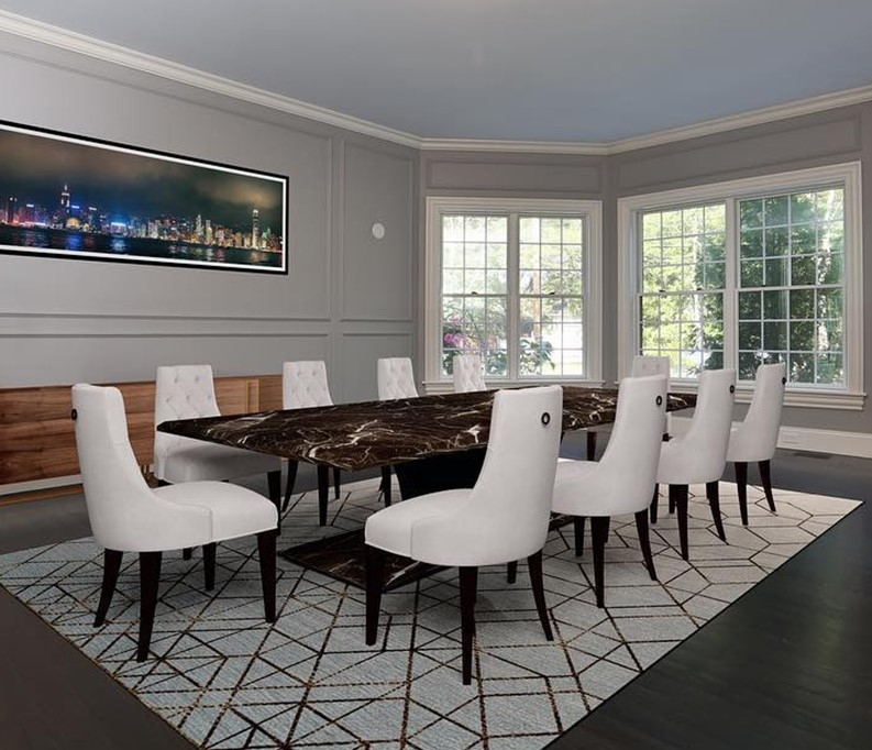 Formal dining room with long elegant table and a row of white double-hung windows with traditional grilles