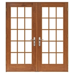 lifestyle hinged patio door with traditional grilles