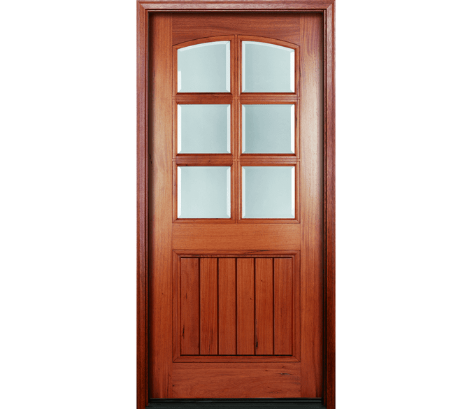 2 panel arch wood entry door with 3x2 grilles