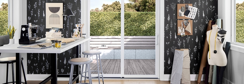 impervia sliding patio door in a sewing room with a sewing machine