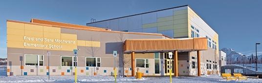 exterior of an elementary school using fiberglass windows