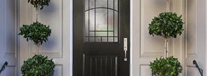 charcoal mahogany-grain entry door half light decorative glass