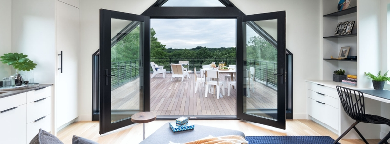 architect series patio doors open with triangle transom