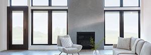 contemporary living room black hinged door fixed windows