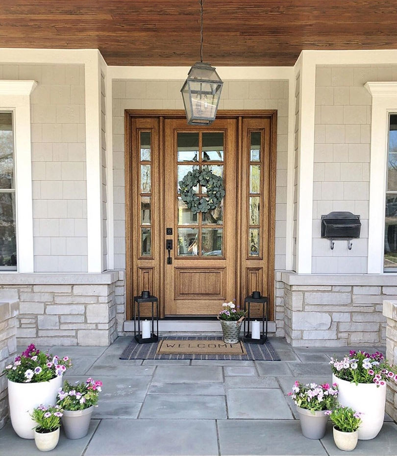 Natural Wood Front Door Ties Together Modern Farmhouse Style Pella