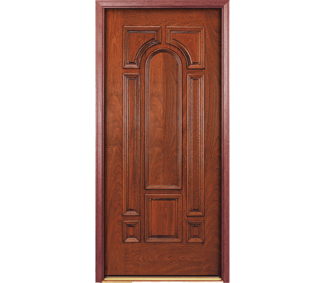 solid center arch wood entry door