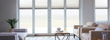 four-panel white sliding door with blinds-between-the-glass
