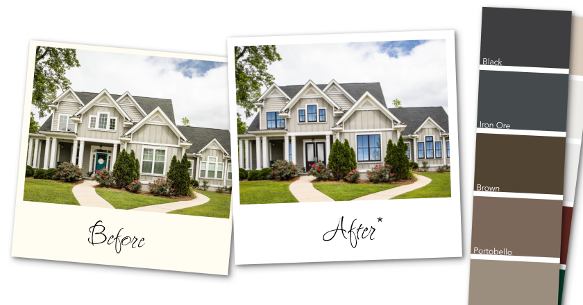DesignWorks White House before and after windows and doors with an attached paint swatch