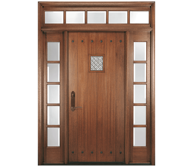single planked panel wood entry door with 4x2 grilles