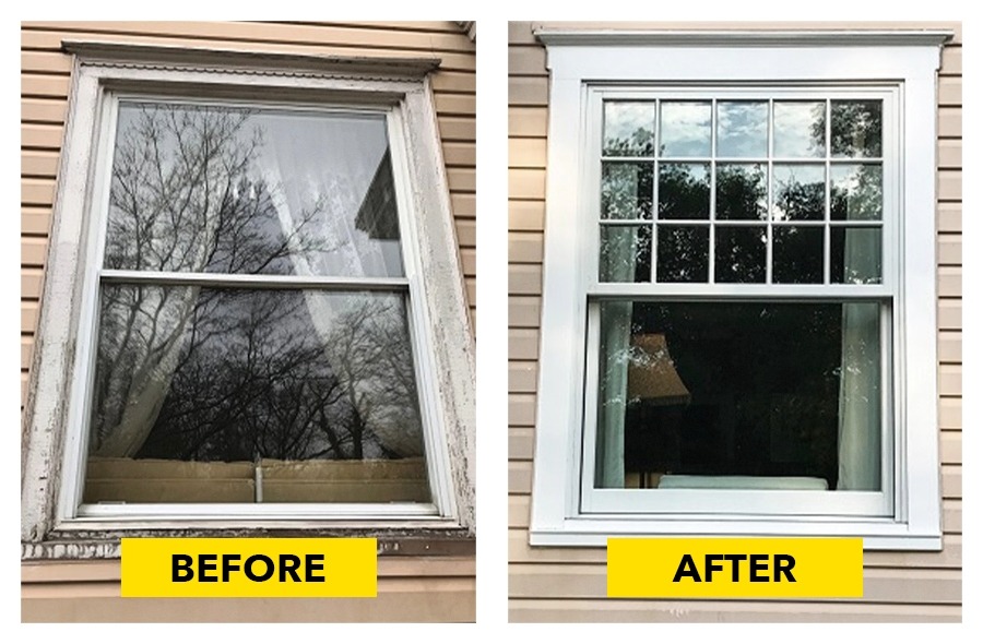 Before and after image of replacement double-hung windows