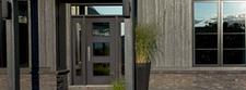 dark three panel equal entry door contemporary home