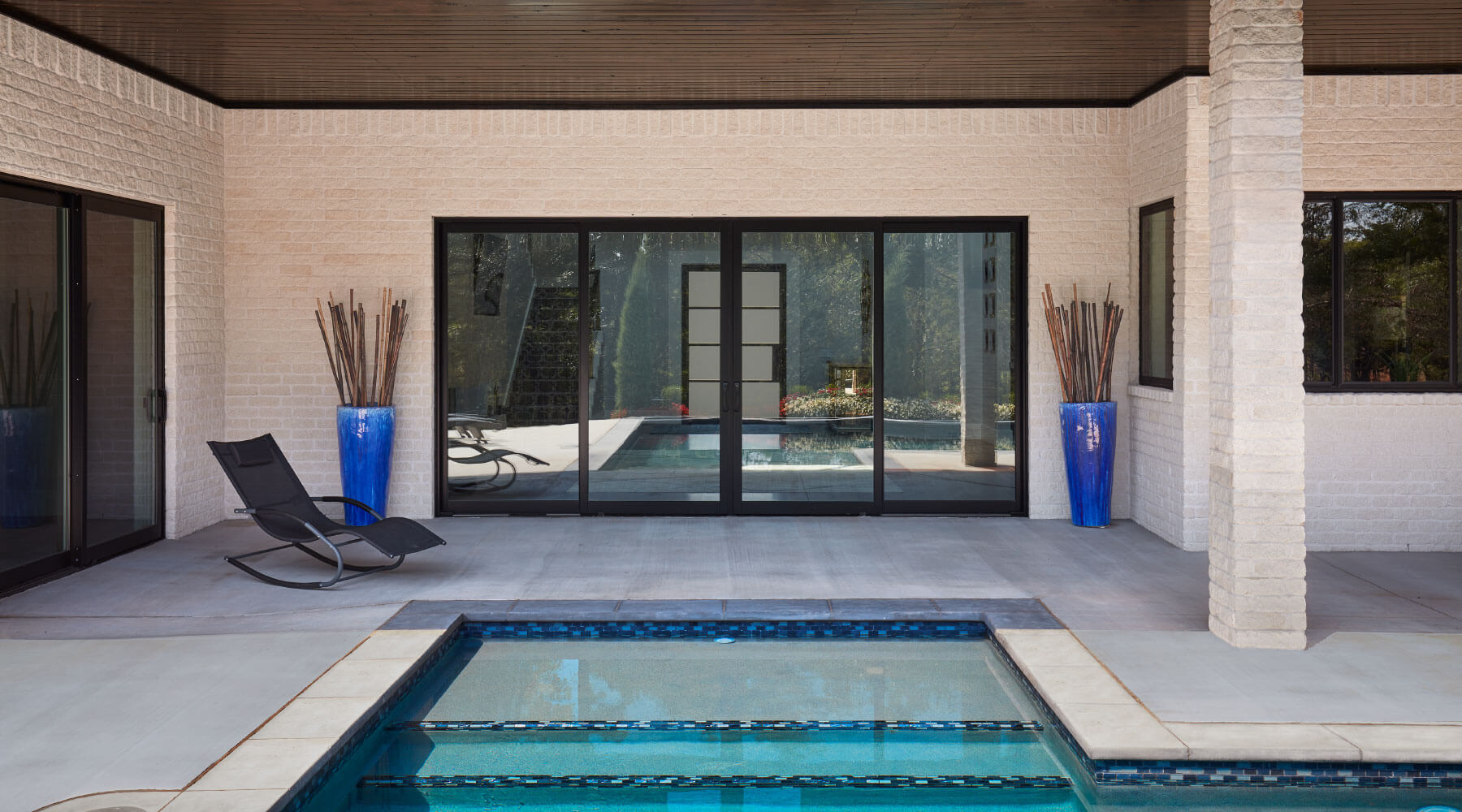 Black patio doors with pool